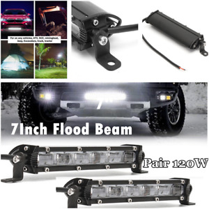 2Pcs 12V 60W Slim CREE LED Light Bar Long Strip Work Light For Car Offroad Truck