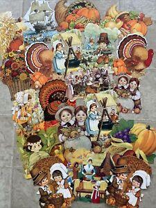 Lot of 20 Thanksgiving Diecut Cutouts Vintage Decoration Hallmark