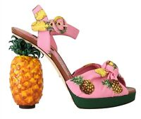 NEW $2000 DOLCE & GABBANA Shoes Ananas Pineapple Print Heel Sandals EU36 / US5.5