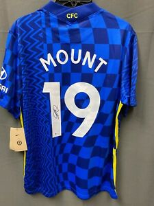 Mason Mount #19 Signed Blue Chelsea FC NIKE Soccer Jersey Sz L BAS WITNESSED COA
