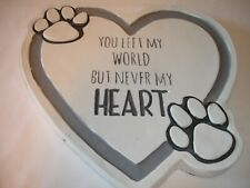 New! Cat Dog Pet Memorial Pet Garden Stone Cement Heart Shaped with Paw Prints
