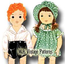 "Vintage 1930s Cloth Stuffed Girl & Boy Dolls & Clothes Pattern ~ Sue & Sandy 22"""