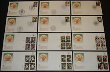 United Nations 12 Diff. 1993 Dignity & Participation Blks Of 4 & Singles Fdc'S