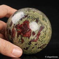 733g 76mm Large Natural Dragon Blood Stone Quartz Crystal Sphere Healing Ball