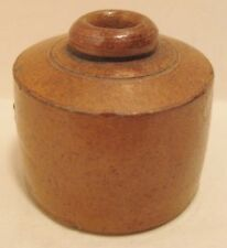 Old Antique 1890 Brown Glazed Stoneware Pottery Ink Well