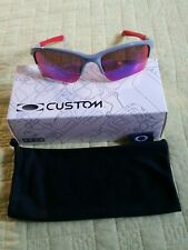 NEW IN BOX OAKLEY QUARTER JACKET GRAY/RED WITH RED POSITIVE PRIZM LENSES