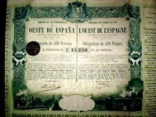Compañía  Ferrocarriles Oeste España 1894 Bearer Bond