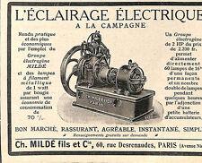 """PARIS ETS CH. MILDé """" GROUPE ELECTROGENE """" PUBLICITE 1910"""