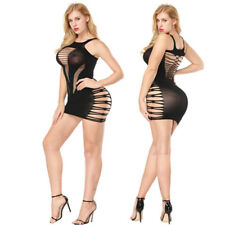 Sexy Mesh Hollow Hole Babydoll Lingerie Dress Erotic Women Fishnet Underwear