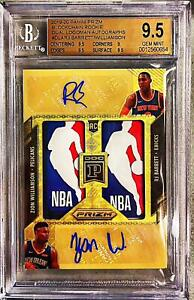 2019 Gold Vinyl Prizm Zion Williamson Barrett RC Dual NBA LOGOMAN AUTO BGS 9.5