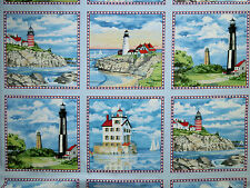 maritime Stoffe Leuchtturm Küste Inseln Möwe Boote 6 Bilder USA Panel BW 60x1,12