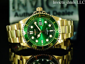 Invicta Men's 43mm Pro Diver HAMMERHEAD Green Dial 18K Gold Plated SS 100M Watch