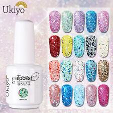 Ukiyo 15ml Diamond Glitter Soak-off Gel Polish UV No Wipe Top Base Coat