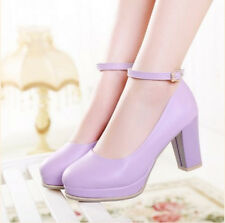 Mary Janes Block Heel Women's Lolita Round Toe Pumps Princess Ankle Strap Shoes