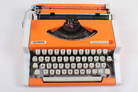 ORANGE OLYMPIA TRAVELLER- Vintage portable working typewriter