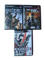 Lot of 3 PS2 Playstation 2 Video Games, G.I. Joe, Splinter Cell, Metal Gear