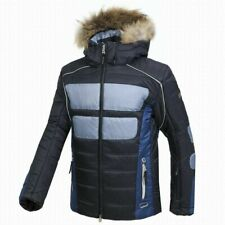BOGNER ENRICO GREY-BLUE SKI JACKET MEN WITH FUR HOOD TRIM