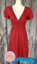 VELVET Graham SPENCER Size Small Red Knit Knit Dress Rich Red Empire Deep V NEW
