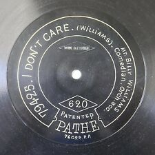 """12"""" 78rpm PATHE 620 BILLY WILLIAMS i don`t care / my lass frae glassgie toon"""