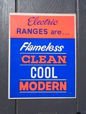 Vintage Electric Range Stove Cardboard Sign Flameless Clean Cool Modern