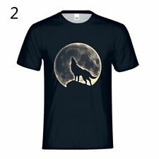Men T Shirt The Mountain Wolf Howling Moon Hunter Animal Tee Short Sleeve Tops