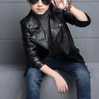 New Children Girls Coats Jackets Boys Leather Casual Turn-down Collar Jacket hot