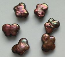 6 Perlas De Agua Dulce Perla Mariposa De Bronce iridiscente. 10 mm Joyería/grano/Crafts