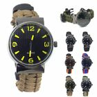 Survival Watch Rescue Bracelet Compass Flint Fire Starter Paracord Whistle