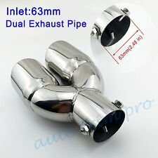 "Chrome Universal 2.5"" 63mm Inlet Tail Pipe Exhaust Muffler Rear Tip Dual Outlet"