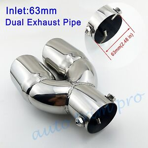 """Chrome Universal 2.5"""" 63mm Inlet Tail Pipe Exhaust Muffler Rear Tip Dual Outlet"""