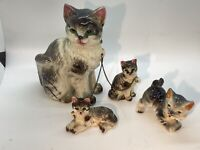 Vintage Mother Cat w/Kittens Chained Japan Ceramic Figurines