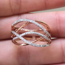 10k White Rose Gold Natural Diamond Multi-Row Wedding Band Anniversary Ring