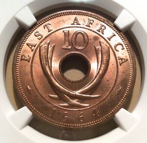 East Africa 1964 H 10 Cents KM-40 NGC MS 63 RB! Make me an Offer!