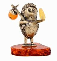 Hedgehog in the Fog  Figurine. Brass and Natural Amber Sculpture Figurine