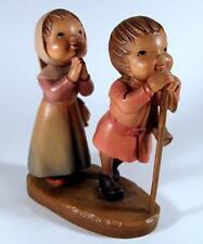 Anri Carved Wood Figurine Reverence Boy and Girl Praying