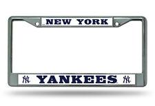 New York Yankees WHITE Metal Chrome License Plate Frame Auto Truck Car NWT