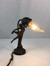 Antique Cast Iron Art Deco Lamp Woman Semi-Nude