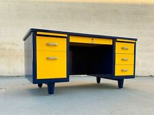 McDowell Craig Mid Century Tanker Desk Refinished in Blue and Yellow
