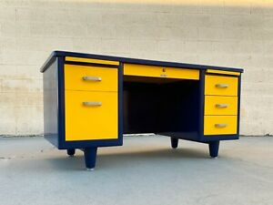 McDowell Craig Mid Century Tanker Desk Custom Refinished in Blue and Yellow