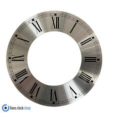 New Metal Silver Chapter Clock Dial Anneau - 200mm Outer Black Roman Numbers