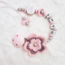 """Schnullerkette mit Namen Baby Traum Rosa Blume """"Kleine Prinzessin"""""""