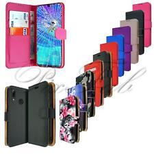 Per Huawei Honor 8A Nuovo Libro in Pelle Nera Portafoglio Telefono Caso + Vetro Temperato