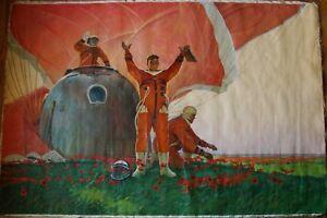 Russian Ukrainian Soviet oil painting grandiose realism Space Astronaut crew