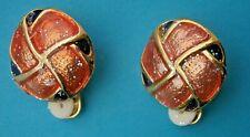 Z17/*) VINTAGE GOLD TONE ENAMEL ORANGE ROUND CELTIC KNOT CLIP ON EARRINGS