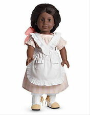 American Girl Addy PLAID SUMMER DRESS apron boots bow retired pink NO DOLL