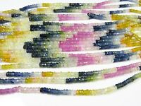 """MULTI SAPPHIRE FACETED RONDELLE SHAPE BEADS NATURAL GEMSTONE 3 mm 15"""" STRAND"""