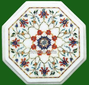 14 Inches Marble Coffee Table Top with Marquetry Art Bed Side Table Royal Look