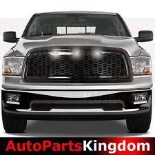 09-12 Dodge RAM 1500 Raptor Style Gloss Black Mesh Grille+Shell+White LED light