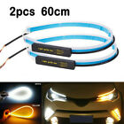 2X Slim Sequential Flexible Amber LED DRL Turn Signal Strip Light Headlight 60cm