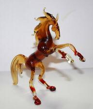 Art Blown Glass Murano Figurine Amber Rearing Glass Horse Figurine